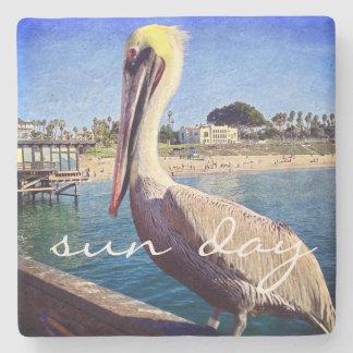 """Porta-copo De Pedra De """"foto bonito do pássaro do pelicano do cais da"""