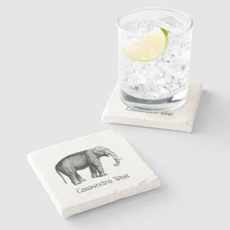 Porta-copo De Pedra Desenho do elefante do vintage