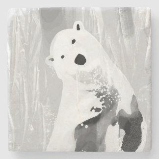 Porta-copo De Pedra Design preto e branco original do urso polar