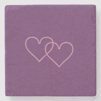 Porta-copo De Pedra Dois corações mirtilo-coloridos