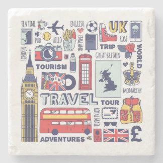 Porta-copo De Pedra Doodles do viagem de Inglaterra