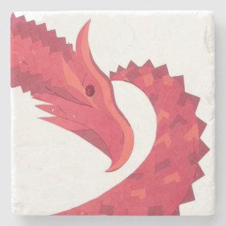 Porta-copo De Pedra Dragão vermelho do coração no branco