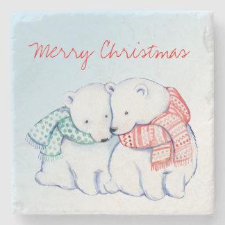 Porta-copo De Pedra Duas portas copos do Feliz Natal dos ursos polares