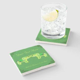 Porta-copo De Pedra Elefante do Henna (verde/verde limão)