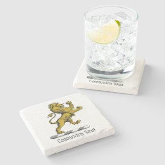 Porta-copo De Pedra Emblema ereto C da crista do leão heráldico