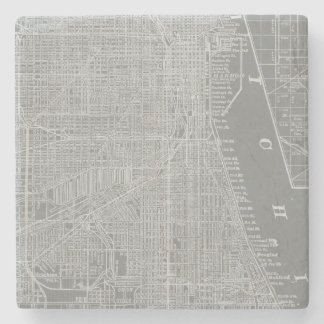 Porta-copo De Pedra Esboço do mapa da cidade de Chicago