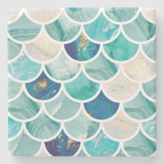 Porta-copo De Pedra Escalas de peixes da sereia do mármore de turquesa