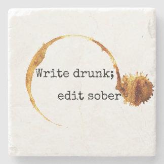 Porta-copo De Pedra Escreva o bebado; Edite citações sóbrios de