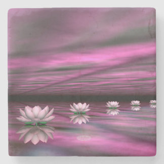 Porta-copo De Pedra Etapas dos lírios de água o horizonte - 3D rendem