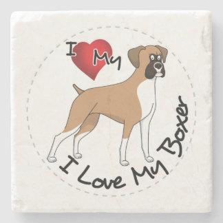 Porta-copo De Pedra Eu amo meu cão do pugilista