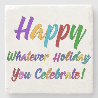 Porta-copo De Pedra Feliz colorido o que feriado você comemora!