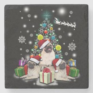 Porta-copo De Pedra Feliz Natal com o animal do cão do Pug