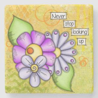 Porta-copo De Pedra Flor positiva do Doodle do pensamento do prazer da
