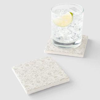 Porta-copo De Pedra Floral brandamente bege e branco