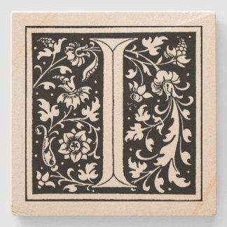 Porta-copo De Pedra ` Floral do monograma do vintage eu'