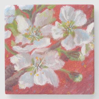 Porta-copo De Pedra Flores brancas em Coster de mármore vermelho