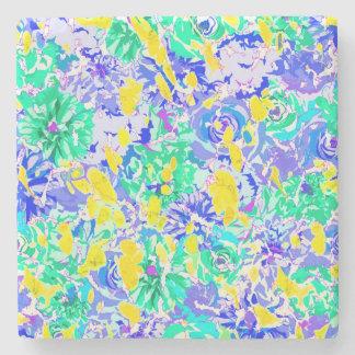 Porta-copo De Pedra Flores coloridas abstratas bonitos do primavera