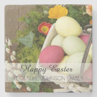 Porta-copo De Pedra Flores do primavera e cesta dos ovos da páscoa
