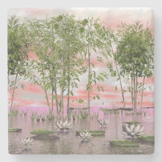 Porta-copo De Pedra Flores e bambus de Lotus - 3D rendem
