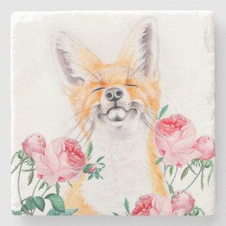 Porta-copo De Pedra Foxy feliz e rosas