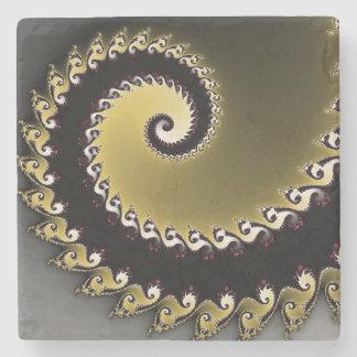 Porta-copo De Pedra Fractal. Ouro, prata, preta