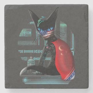 Porta-copo De Pedra Gato de Ninja do Cyberpunk