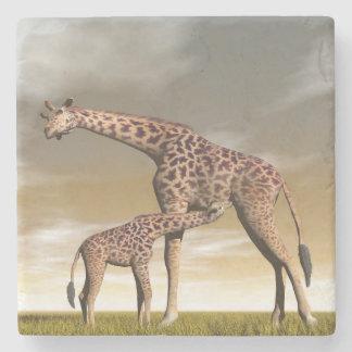 Porta-copo De Pedra Girafa da mãe e do bebê - 3D rendem