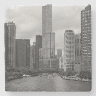 Porta-copo De Pedra Grayscale de Chicago River da torre do trunfo