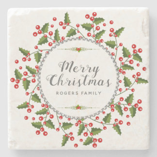 Porta-copo De Pedra Grinalda da tipografia & do Natal do Feliz Natal