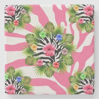 Porta-copo De Pedra Hibiscus tropical e listras cor-de-rosa exóticas
