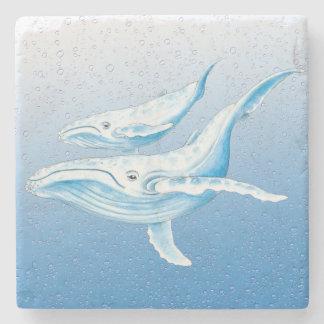 Porta-copo De Pedra Humpbacks azuis Waterdrops