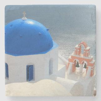 Porta-copo De Pedra Igreja de Santorini na tarde Sun