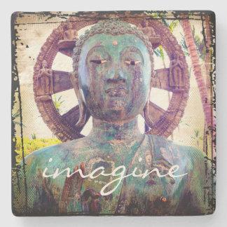"""Porta-copo De Pedra """"Imagine"""" a foto asiática da cabeça da estátua de"""