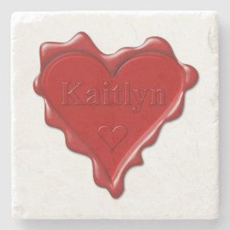 Porta-copo De Pedra Kaitlyn. Selo vermelho da cera do coração com
