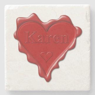 Porta-copo De Pedra Karen. Selo vermelho da cera do coração com Karen