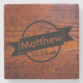 Porta-copo De Pedra Logotipo personalizado dos padrinhos de casamento