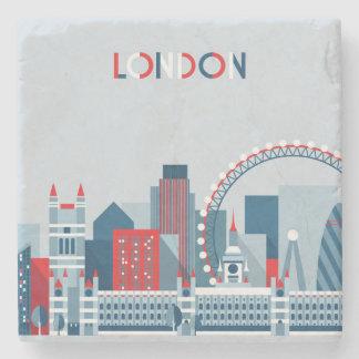 Porta-copo De Pedra Londres, Inglaterra skyline vermelha, branca e