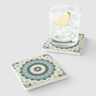 Porta-copo De Pedra Mandala da flor branca e do azul Cerulean