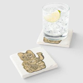 Porta-copo De Pedra Maneki dourado Neko