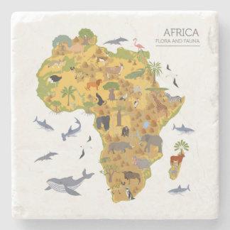 Porta-copo De Pedra Mapa da flora & da fauna de África |