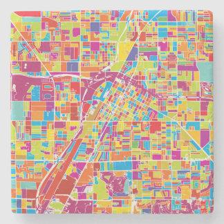 Porta-copo De Pedra Mapa de Las Vegas colorido, Nevada