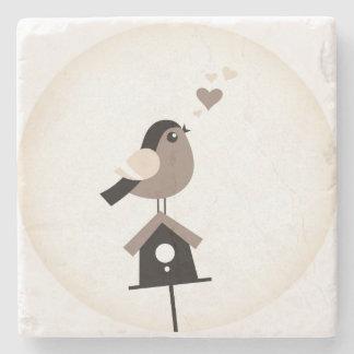 Porta-copo De Pedra Mármore com pássaro do vintage