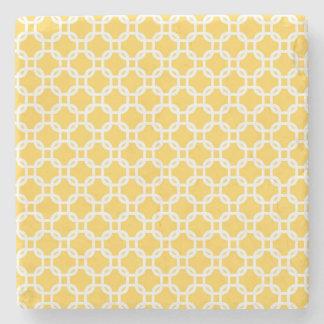 Porta-copo De Pedra Mármore marroquino amarelo do design geométrico