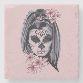 Porta-copo De Pedra Máscara do esqueleto da mulher