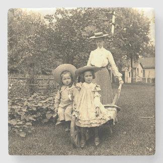Porta-copo De Pedra menina das filhas da mãe do jardim da herança da