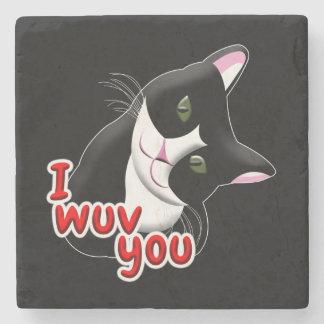 Porta-copo De Pedra Mim wuv você gato