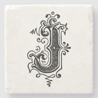 Porta-copo De Pedra Monograma decorativo 'J do vintage