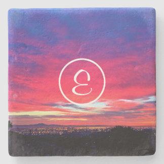 Porta-copo De Pedra Monograma do costume da foto do nascer do sol do