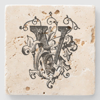 Porta-copo De Pedra Monograma floral 'V
