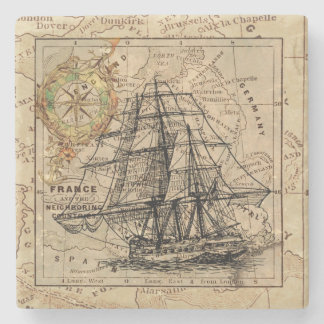 Porta-copo De Pedra Navio e mapa do vintage